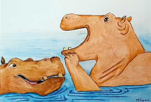 'Hippo Humour' 2018 - Watercolour Pencils & Ink on Paper 15 x 21cm $40
