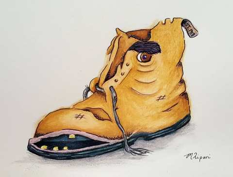 'Tough as Old Boots' 2018 - Watercolour Pencils & Ink on Paper 15 x 21cm
