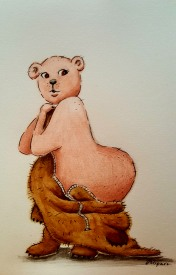 'Bare Bear' 2018 - Watercolour, Coloured Pencils & Ink on Paper 21 x 15cm Theme 'naked' & 'exaggerated body types'